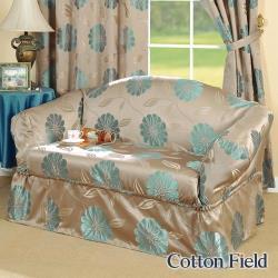 棉花田 花藝 提花雙人沙發套/沙發便利套-藍色