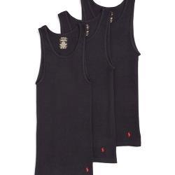 Ralph Lauren 男時尚馬球羅紋黑色背心3件組