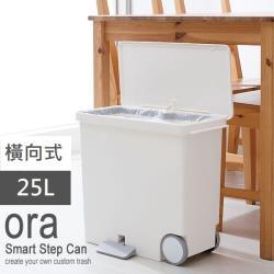 日本 LIKE IT 橫向式分類垃圾桶 25L - 純白色