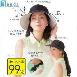 日本NEEDS黑色蝴蝶結吸濕排汗SHADAN隔熱防曬遮陽帽抗UV遮陽防曬帽#679756(大帽緣12公分,可調頭圍) スタイルアレンジUV帽子