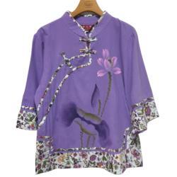 唐三彩斜襟盤扣手繪印花純棉復古修身短款七分袖上衣2入組