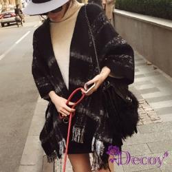 【Decoy】簡約格紋*流蘇加厚仿羊絨披肩圍巾/黑