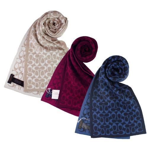 【COACH】新款經典LOGO圍巾、披肩(3色)/