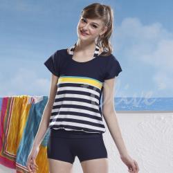 泳之美品牌 時尚經典二件式短袖加大泳裝 NO.2296-5L