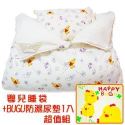 孩子國 維尼嬰兒睡袋+BUGU高級防濕尿墊1入 超值組