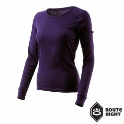 Route8 女款 WARM 圓領保暖衣/貴氣紫