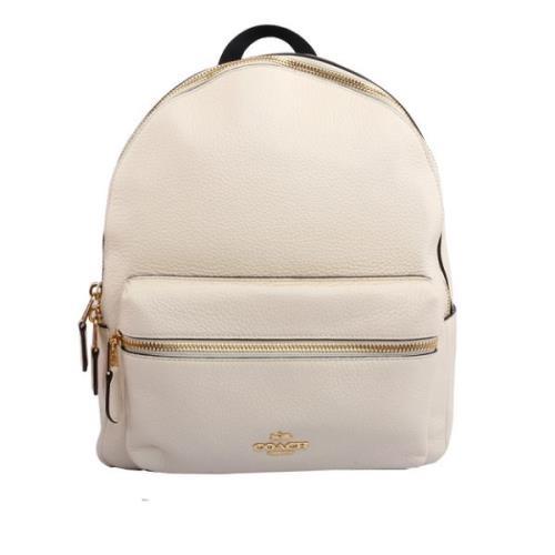COACH 皮革口袋後背包(中)(白色) F30550 IMCHK