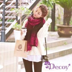 【Decoy】漸變色彩*麻花編織加厚圍巾/紅黑