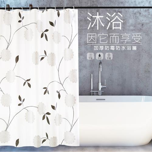 【APEX】文青風時尚加厚型防水浴簾-黑白花團/