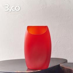 3,co 玻璃月型口扁平花器(8號) - 紅