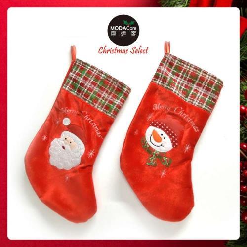 紅色格紋絨布聖誕襪兩入組