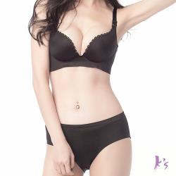 【Ks凱恩絲】一片式零束縛舒適女神內衣褲組-MO34款(黑)