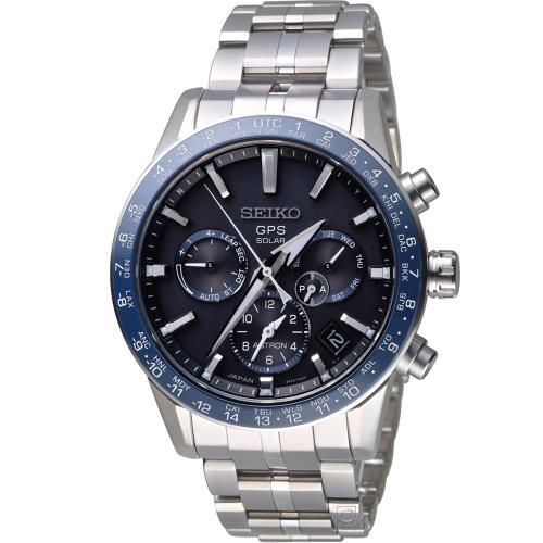 SEIKO ASTRON GPS 5X53 雙時區鈦金屬腕錶(SSH001J1)-藍 5X53-0AB0B