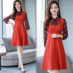 型-韓國K.W.  休閒自在感格紋洋裝