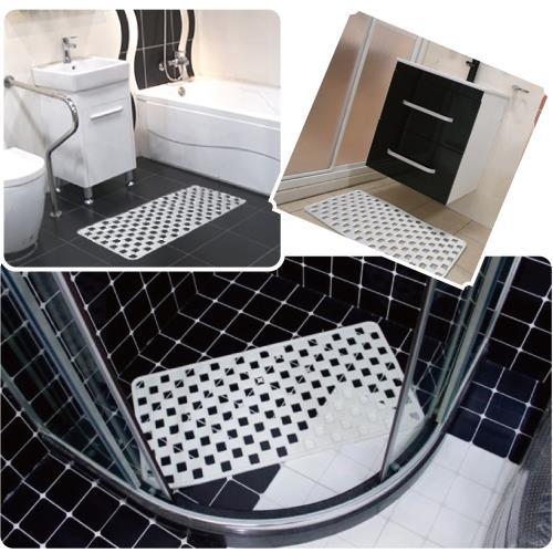 感恩使者 PVC格狀吸盤式止滑墊-格狀鏤空排水設計防滑墊-耐用型-白色 ZHCN1756