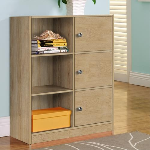 【咱的厝】DIY弗雷六格三門櫃/書櫃/置物櫃/收納櫃(淺橡色)