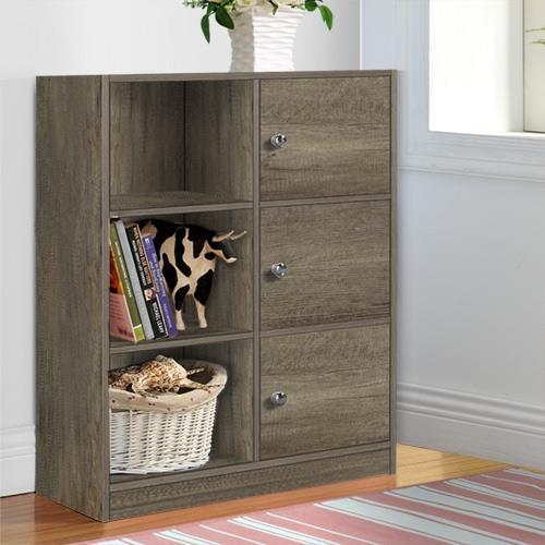 【咱的厝】DIY弗雷六格三門櫃/書櫃/置物櫃/收納櫃(深橡色)