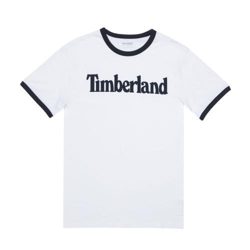 Timberland男款白色品牌字母圓領T-ShirtA1W19100/