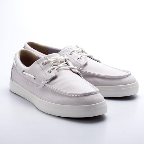 Timberland男款淺灰色帆布帆船鞋A1W4WE02/