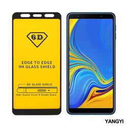 YANGYI揚邑-Samsung Galaxy A7 2018 全膠滿版二次強化9H鋼化玻璃膜6D防爆保護貼-黑