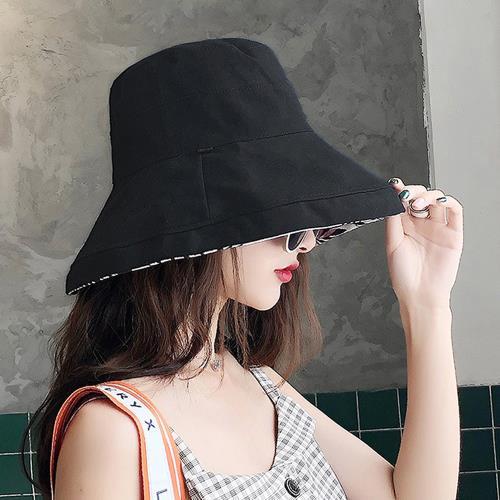 【KISSDIAMOND】大帽檐雙面戴可摺疊收納印花遮陽帽(遮陽/防曬/全防護/好收納/6色可選)/