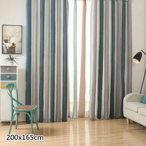 傢飾美 現代北歐風格雪尼爾條紋窗簾_200x165cm