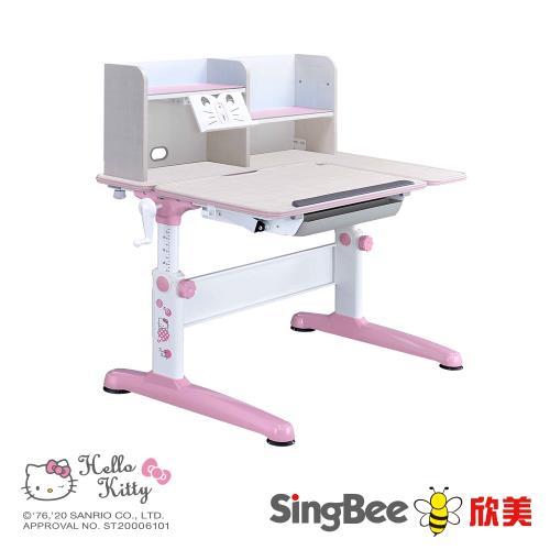 【SingBee欣美】 Hello Kitty 手搖L桌 兒童書桌 兒童成長書桌 可升降書桌-105cm桌面