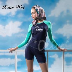 沙麗品牌 時尚流行二件式長袖泳裝 NO.19118