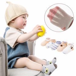 春夏短襪卡通網眼童襪 兒童薄棉鏤空防蚊襪-5雙入