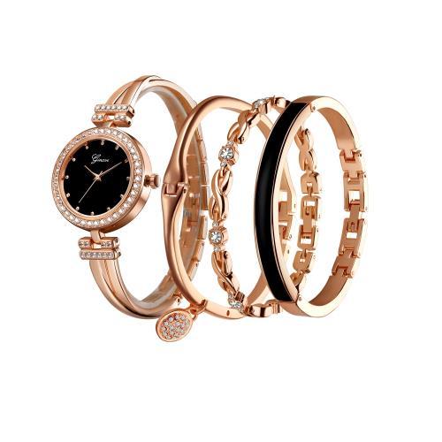 【Sara】優雅大方手鍊手鐲女石英手錶四件套組