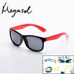【MEGASOL】中性兒童男孩女孩UV400抗紫外線偏光兒童太陽眼鏡(經典百搭KD814-三色可選)