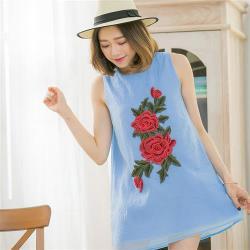 小尺碼-玫瑰刺繡皺感紗背心小洋裝(共三色)lingling