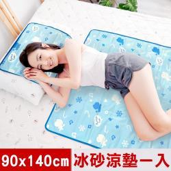 奶油獅-雪花樂園-長效型降6度涼感冰砂冰涼墊/單人床墊直放/雙人床墊橫放90x140cm-藍色(一入)