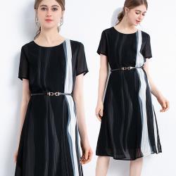 麗質達人 - 8952黑色雪紡拼色洋裝