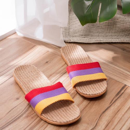 時尚雜誌風格透氣亞麻拖鞋