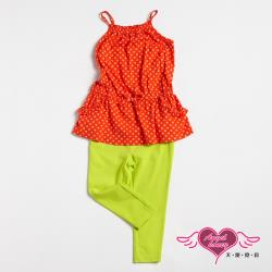 天使霓裳-童裝 熱情點點 兒童背心長褲兩件組套裝(橘紅) GSH13089