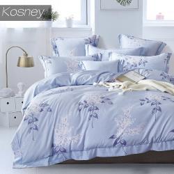 KOSNEY  夏日庭榭藍  吸濕排汗萊賽爾雙人天絲床包被套組台灣製