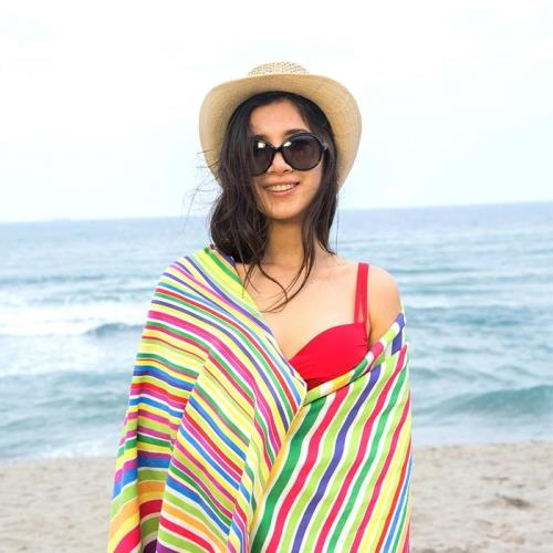 MORINO摩力諾 超細纖維繽紛靚彩海灘巾/沙灘巾-彩虹伊麗絲(附收納袋)