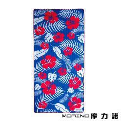 MORINO摩力諾 超細纖維繽紛靚彩海灘巾/沙灘巾-扶桑花語(附收納袋)