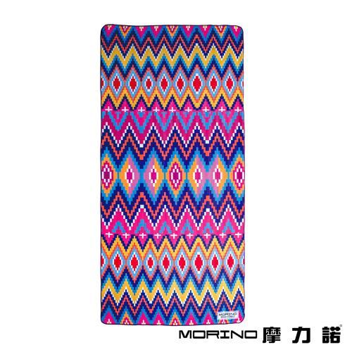 MORINO摩力諾 超細纖維繽紛靚彩海灘巾/沙灘巾-七彩菱格(附收納袋)