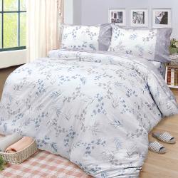 FITNESS  精梳棉雙人四件式兩用被床包組-花影葉語(卡其)