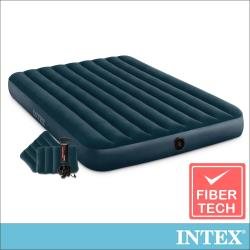 INTEX經典雙人充氣床(綠絨)-寬152cm-特惠組合(附手壓幫浦+枕頭*2)(64736)