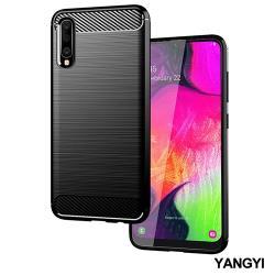 YANGYI揚邑-SAMSUNG Galaxy A70 碳纖維拉絲紋軟殼散熱防震抗摔手機殼-黑