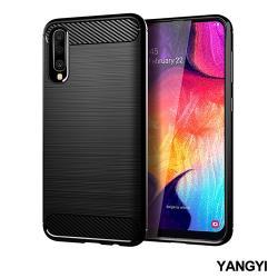 YANGYI揚邑-SAMSUNG Galaxy A50 碳纖維拉絲紋軟殼散熱防震抗摔手機殼-黑