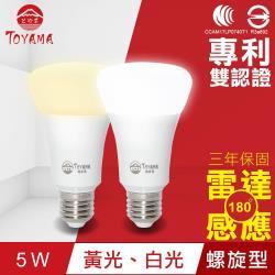 TOYAMA特亞馬 LED雷達感應燈5W E27螺旋型(白光、黃光任選)