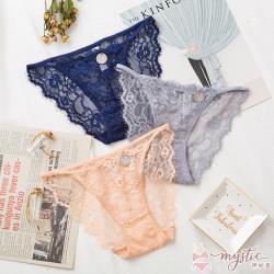【mystic神秘者】蕾絲透膚低腰細帶三角內褲(共3色)