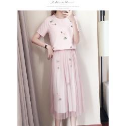 JimmyWang 手工釘花縫珠上衣紗裙套裝2件組 – 2色選一
