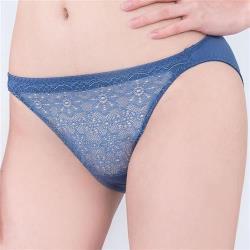 思薇爾 晨曦系列M-XL蕾絲低腰三角內褲(皇室藍)