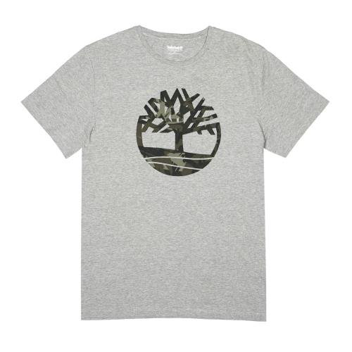 Timberland男款麻灰色迷彩印花品牌圖案短袖T恤A1ZWN052/