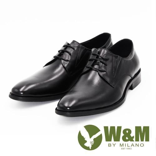 W&M真皮尖頭綁帶休閒男鞋皮鞋-黑/